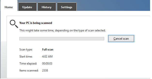 Windows defender scanning PC for Viruses.