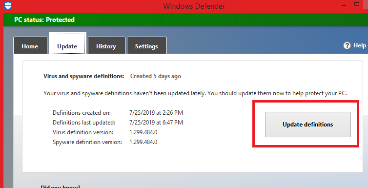 Check updates in Windows Defender
