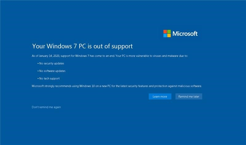 Outdated version of Windows
